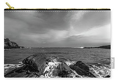 Maine Storm Clouds And Crashing Waves On Rocky Coast Carry-all Pouch by Ranjay Mitra