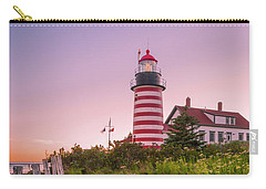 Carry-all Pouch featuring the photograph Maine West Quoddy Head Light At Sunset In Autumn by Ranjay Mitra