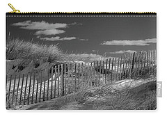 Carry-all Pouch featuring the photograph Maine Winter Coastal Dunes Bw Panorama by Ranjay Mitra