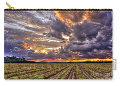 Carry-all Pouch featuring the photograph Majestic Peanut Harvest Sunset Art by Reid Callaway