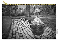 Make Way For Ducklings In Boston Black And White Carry-all Pouch