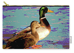 Carry-all Pouch featuring the mixed media Male And Femal Mallard by Charles Shoup