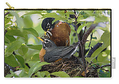 Male And Female Robin On Nest Carry-all Pouch