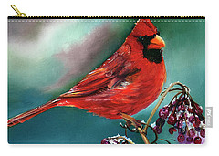 Male Cardinal And Snowy Cherries Carry-all Pouch