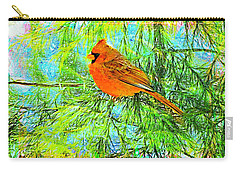 Male Cardinal In Juniper Tree Carry-all Pouch