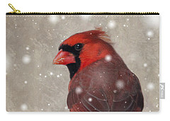 Male Cardinal In Snow #1 Carry-all Pouch