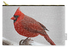 Male Cardinal In Snow Carry-all Pouch