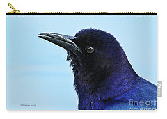 Carry-all Pouch featuring the photograph Male Grackle Beauty by Deborah Benoit