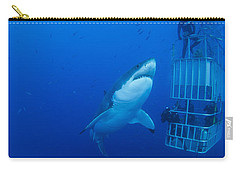 Male Great White With Cage, Guadalupe Carry-all Pouch by Todd Winner