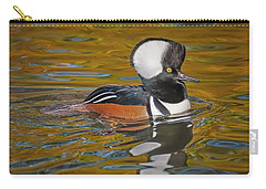 Carry-all Pouch featuring the photograph Male Hooded Merganser Duck by Susan Candelario