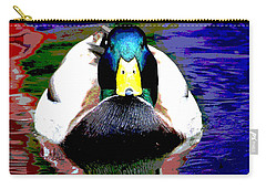 Carry-all Pouch featuring the mixed media Male Mallard by Charles Shoup