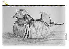 Carry-all Pouch featuring the drawing Male Mandrain Duck  by Amy Gallagher