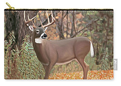 Male Mule Deer Painting Carry-all Pouch by Walter Colvin