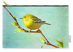 Male Pine Warbler On Forsythia Branch Carry-all Pouch