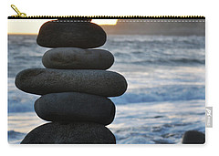 Carry-all Pouch featuring the photograph Malibu Balanced Rocks by Kyle Hanson
