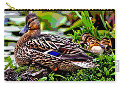 Carry-all Pouch featuring the mixed media Mallard And Chicks by Charles Shoup