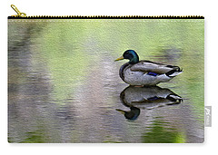 Carry-all Pouch featuring the photograph Mallard In Mountain Water by Mark Myhaver