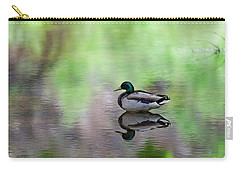Carry-all Pouch featuring the photograph Mallard In Reflecting Pool H58 by Mark Myhaver