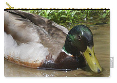Carry-all Pouch featuring the photograph Mallard Madness by Kathy Kelly