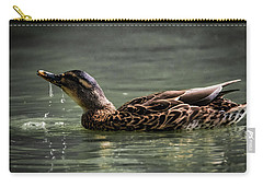 Mallard Sipping Water Carry-all Pouch by Ray Congrove