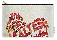 Carry-all Pouch featuring the painting Maltese Dog Watercolor Painting / Typographic Art by Ayse and Deniz