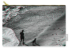 Man And Dog On The Beach Carry-all Pouch