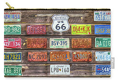 Carry-all Pouch featuring the photograph Man Cave License Plates by Marion Johnson