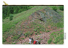 Man Hiking With Llama High Alpine Mountain Trail Carry-all Pouch by Jerry Voss