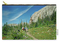 Man Hiking With Two Llamas High Alpine Mountain Trail Carry-all Pouch by Jerry Voss