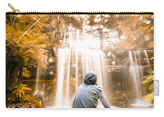 Carry-all Pouch featuring the photograph Man Looking At Waterfall by Jorgo Photography - Wall Art Gallery