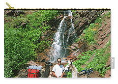 Man Posing With Two Llamas Mountain Waterfall Carry-all Pouch by Jerry Voss