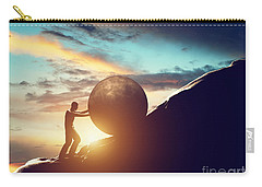 Man Rolling Huge Concrete Ball Up Hill Carry-all Pouch