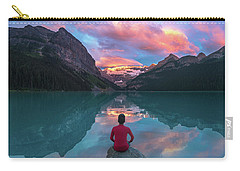 Carry-all Pouch featuring the photograph Man Sit On Rock Watching Lake Louise Morning Clouds With Reflect by William Lee