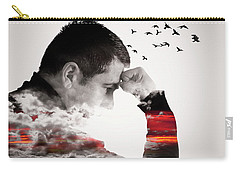Man Thinking Double Exposure With Birds Carry-all Pouch