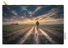Carry-all Pouch featuring the photograph Man Watching Sunrise In Tulip Field by William Lee