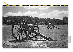 Carry-all Pouch featuring the photograph Manassas Battlefield 2 Bw by Frank Romeo