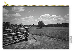 Carry-all Pouch featuring the photograph Manassas Battlefield Bw by Frank Romeo