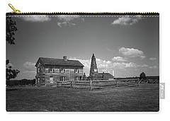 Carry-all Pouch featuring the photograph Manassas Battlefield Farmhouse 2 Bw by Frank Romeo