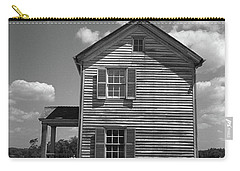 Carry-all Pouch featuring the photograph Manassas Civil War Battlefield Farmhouse Bw by Frank Romeo