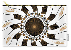 Carry-all Pouch featuring the digital art Mandala Black And Gold by Linda Lees