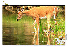 Deer Reflections In Fishercap Carry-all Pouch by Adam Jewell