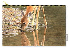 Carry-all Pouch featuring the photograph Deer Reflections by Adam Jewell