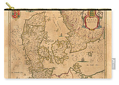 Map Of Denmark 1645 Carry-all Pouch by Andrew Fare