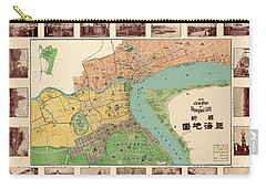 Map Of Shanghai 1908 Carry-all Pouch by Andrew Fare