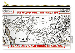Carry-all Pouch featuring the drawing Map Of Some Of The Lines Of The Texas And California Stage Company Circa 1880s by Peter Gumaer Ogden