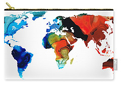 Carry-all Pouch featuring the painting Map Of The World 3 -colorful Abstract Art by Sharon Cummings