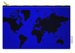 Carry-all Pouch featuring the photograph Map Of The World Blue by Rob Hans