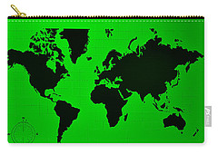 Carry-all Pouch featuring the photograph Map Of The World Green by Rob Hans