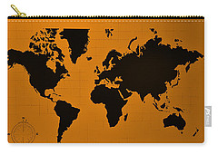 Carry-all Pouch featuring the photograph Map Of The World Orange by Rob Hans