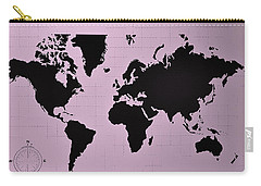 Carry-all Pouch featuring the photograph Map Of The World Pink by Rob Hans